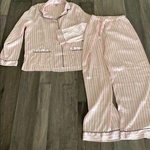 Victorias Secret Satin pink stripe PJs